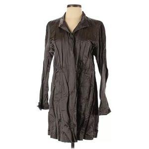 Eileen Fisher Brown Metallic Crinkle Trench Coat